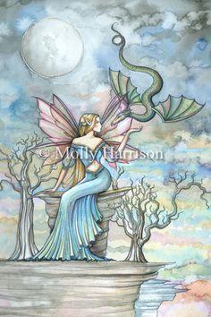 Fairy Dragon Print by Molly Harrison - Land Beyond- Beautiful Fantasy Watercolor  12 x 18 - Fairies faeries fae