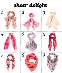 SHEER DELIGHT- cute scarfs!