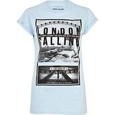 Light blue London calling print t-shirt  £15.00