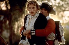 Heath Ledger in THE PATRIOT (2000) - An American soldier taken prisoner by the British during the Revolutionary War...was he a spy, or was it during a battle? Or did he distract them with himself in order to save a friend from capture?