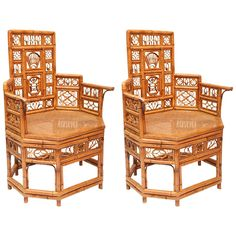 Pair of Fanciful Bamboo Armchairs | From a unique collection of antique and modern armchairs at https://www.1stdibs.com/furniture/seating/armchairs/