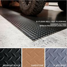 G Floor Diamond Pattern roll out vinyl garage floor covering comes in 3 color options. G Floor garage floor mats install easily. Made in USA, Free Ground Shipping! Vinyl Garage Flooring, Garage Flooring Options, Garage Floor Mats, Garage Floor Paint, Patio Flooring, Epoxy Garage Floor Coating, Garage Floor Coatings, Interlocking Floor Tiles, Vinyl Floor Covering