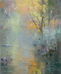 British Artist Rex PRESTON-Chee Dale abstract landscape art   painting