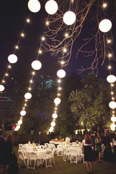 lighting like this for the reception would probably be easy with the lights that are already up out back