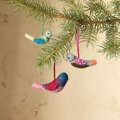 """FELT BIRD ORNAMENTS, SET OF 3�--�A trio of bright birds to grace your tree, hang in a window or give as gifts. Each is hand-sculpted of unspun wool using a technique called needle felting. Imported. Exclusive. Set of 3, approx. 1"""" dia. x 3"""" to 4-1/2""""L."""