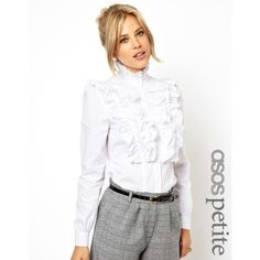 ASOS PETITE Exclusive Shirt With Ruffle Front (665 ARS) ❤ liked on Polyvore featuring tops, little mix, shirts, jade, asos, asos shirt, ruffle front top, regular fit shirt and ruffle front shirt