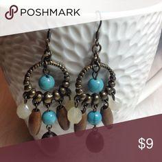 💞 Pretty dangle earrings💞 💖 Blue, brown & white beads dangle from these pretty earrings💞💞 Jewelry Earrings