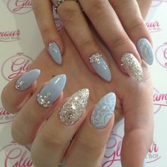 Almond Nails With Glitter Swarovski Crystals And Lace Details