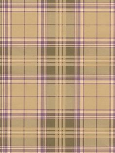 The purple, tan and green plaid wallpaper would add a cozy feel to any home. From the book The Comfort Cafe AmericanBlinds.com #madforplaid