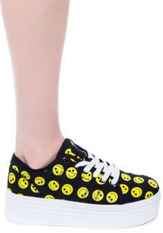 Cute to the Core Blyke Smiley Platform Sneaker   Dolls Kill