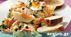 Αυγοσαλάτα με πατάτες και σως μαγιονέζα μουστάρδα από την Αργυρώ Μπαρμπαρίγου   Σερβίρετέ την ζεστή πάνω σε φρυγανισμένο ψωμί ή κρύα. Είναι τέλεια! Happy Foods, Food Categories, Egg Salad, Feta, Salad Recipes, Salads, Sandwiches, Appetizers, Cheese
