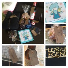 Put together a few bought and diy league of legends themed gifts for my boyfriend for our anniversary and it went down amazingly!  complete with a sunfire cape with his gamer tag printed on and LoL logo on the back, health and mana floating glitter jars, a bag of minions that have spawned, pentakill cola bottles, a boat load of riot points, ziggs  stress bomb, beer that will shut him down and a hand made LoL card!