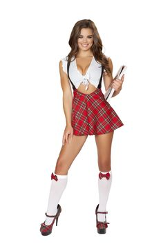 RM4549 Sexy Study Schoolgirl Costume by Roma includes a white tie front crop top with ruffle trim and red plaid high waisted skirt with attached suspenders. #sexyschoolgirl #schoolgirluniform #schoolgirlcostume