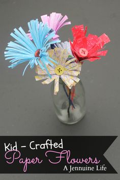Kid Crafted Paper Flowers - card stock or index cards, buttons, crayons, wire or pipe cleaner