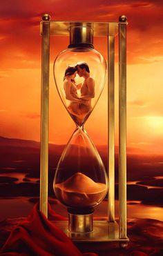 ♂ Dream ✚ Imagination ✚ Surrealism Surreal art Sunset golden sand timer couple