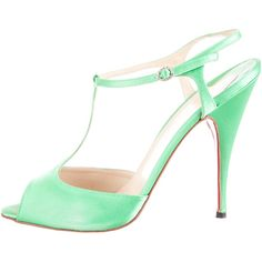 Christian Louboutin Pre-owned Christian Louboutin Sandals ($395) ❤ liked on Polyvore featuring shoes, sandals, green, christian louboutin sandals, satin shoes, embellished shoes, green peep toe shoes and t strap shoes