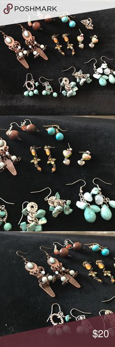 Earring Lot Of 8 PLUS and ear cuff-turquoise Get all for one price- I would sell 2 for 10 if you want to separate- Vintage Jewelry Earrings