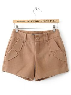 Khaki Turn Up Pockets Embellished Shorts