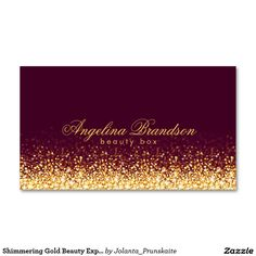 Shimmering Gold Beauty Expert Dark Burgundy Card Business Card