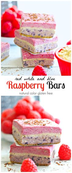 Raspberry Bars (Raw Vegan Gluten Free) Naturally red, white and blue, bursting with raspberry! Gluten Free Treats, Vegan Treats, Gluten Free Baking, Gluten Free Desserts, Vegan Gluten Free, Dairy Free, Raw Vegan Desserts, Raw Food Recipes, Delicious Desserts