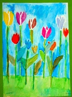 Oil pastel and watercolor flowers