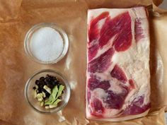 Praise the pork belly — two of the world's best cured meats are easy to make at home. Sausage Recipes, Steak Recipes, Real Food Recipes, Cooking Recipes, Yummy Food, Curing Bacon, Recipe Paper, Pork Belly, Food Hacks