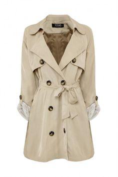 Plus Size Khaki Lapel Coat With Waistband - US$45.95 -YOINS