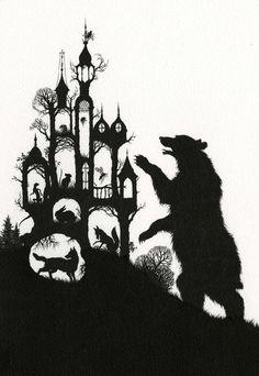 Lotte Reiniger's silhouette art Bear against the world
