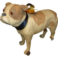 Antique Bulldog Pull Toy for Doll Companion Antique Toys, Vintage Toys, Toy Bulldog, Doll Display, Pull Toy, Candy Containers, Bottle Stoppers, Kids Playing, Dinosaur Stuffed Animal