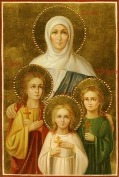 Saints Faith, Hope, Love and their mother Sophia icon with applied flowers Religious Images, Religious Icons, Religious Art, Russian Icons, Byzantine Icons, Madonna And Child, Catholic Saints, Art Icon, Mother Mary