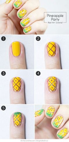 26 DIY Nail Designs with Tutorials for Beginners Nail Shapes nail art tutorials - Nail Art Nail Art Designs, Simple Nail Designs, Nails Design, Fruit Nail Designs, Summery Nails, Simple Nails, Easy Nail Art, Cool Nail Art, Trendy Nails