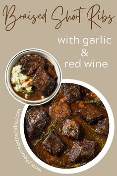 Oh man, these Braised Beef Short Ribs over mashed potatoes or cauliflower are hella good! They are so tender with a rich sauce that makes you glad it's Sunday so you can have them for lunch AND dinner! 😋 Onions, carrots, a whole head of garlic and some sprigs of herbs. And wine! Did I mention you'll need an entire bottle of red for this recipe? I told you it's good!! 🍷 Save the recipe for Valentine's Day! Your honey will thank you!  #shortribs #beefshortribs #thewickednoodle