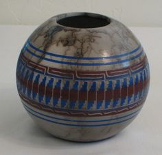 Navajo Indian Pottery Horse Hair Painted Etched Arlene John