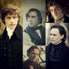 James McAvoy, Tom Lefroy - Becoming Jane directed by Julian Jarrold (2007) / Lee Pace, Fernando Wood - Lincoln directed by Steven Spielberg (2012) / Douglas Booth, Pip - Great Expections directed by Brian Kirk (TV Mini-Series, 2011) / Michael Fassbender, Edward Fairfax Rochester - Jane Eyre directed by Cary Fukunaga (2011) / Tom Hiddleston, Sir Thomas Sharpe - Crimson Peak directed by Guillermo del Toro (2015) #janeausten #charlottebronte #charlesdickens