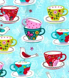 Novelty Cotton Fabric-Birds & Tea Cups