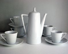 Porcelain Tea Set Mid Century Modern China 1960s by CalloohCallay