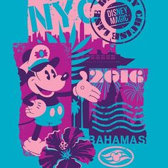 Bright new design coming to Disney Cruise Line this fall for the New York Bahamas cruises. Really fun to be able to get this saturated for merchandise art. It is the Bahamas after all, so it should be bright, right. No worries, there's plenty of standard colored art too for those prefer the classics. #disneyworld #disneyside #disneycruise #disneycruiseline #disney #mickeymouse #mickey #bahamas #newyork #newyorkcity #resort #vacation #islands #colorful #bright #vacationwear #beachwear…
