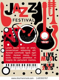 Colorful Jazz Festival Poster with Black Background by Pixejoo, via Shutterstock