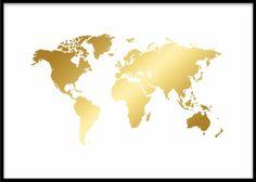 Plakat med verdenskart i gull