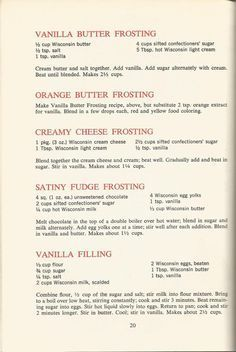 Vintage Recipes: 1964 Cakes, Cookies and Frostings Cake Frosting Recipe, Cookie Frosting, Cake Icing, Frosting Recipes, Cake Recipes, Dessert Recipes, Desserts, Crisco Frosting, Cool Whip Frosting