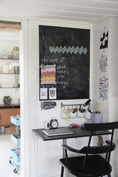 chalk board ~ I would love to have some chalkboard painted wall by or in the kitchen, and in my future children's rooms and one wall in my craft room. I think it would be great to just jot down ideas on the wall