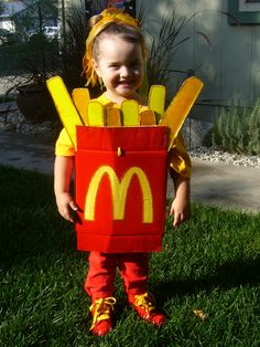 Homemade French Fry costume made from a costco milk box.
