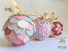 Paper flowers in my head: Ideas para decorar bolas de Navidad  con papel de…