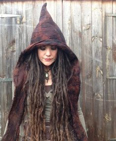 The 'Luridan' Earthy Felted Hooded Scarf Wizard Witch Hat Pixie Hood Fae Elf Elven Cosplay Costume, Pagan Fantasy LARP Wear-ok I love that for Halloween Witch Costumes, Cosplay Costumes, Halloween Costumes, Costume Makeup, Halloween Halloween, Vintage Halloween, Halloween Makeup, Elven Cosplay, Grandeur Nature