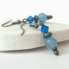 Blue gemstone and crystal earrings £7.00 by Beadstorm Jewellery
