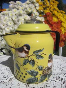 Vintage Yellow Enamel Coffee Pot Hand Painted HP Chickadee Nest $5.00 Shipping