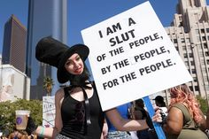 A participant holds a sign during the 2nd Annual Amber Rose SlutWalk Festival in Los Angeles on Oct. 1, 2016. The event seeks to end slut-shaming, victim-blaming, and sexual assaults. This Is What 100 Years Of Women's Protest Looks Like In The US