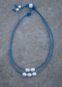 Double Turquoise leather and freshwater pearls necklace