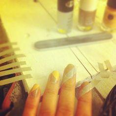 DIY nail art with masking tape - nails