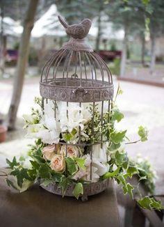 33 Elegant Birdcage Wedding Centerpieces #elegant #birdcage #wedding #centerpieces a shabby chic bird cage with lush white and blush florals